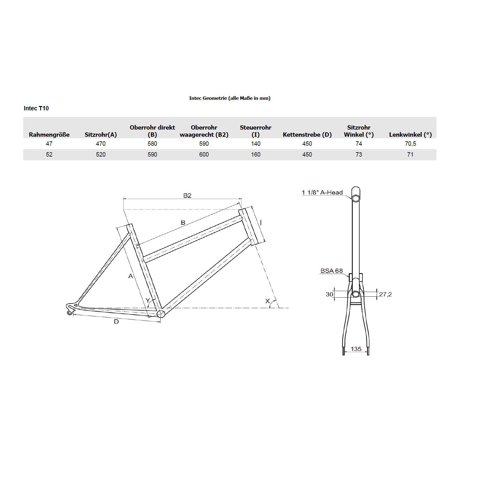 Intec Trekkingrahmen T10 Canti Rohloff/Riemen